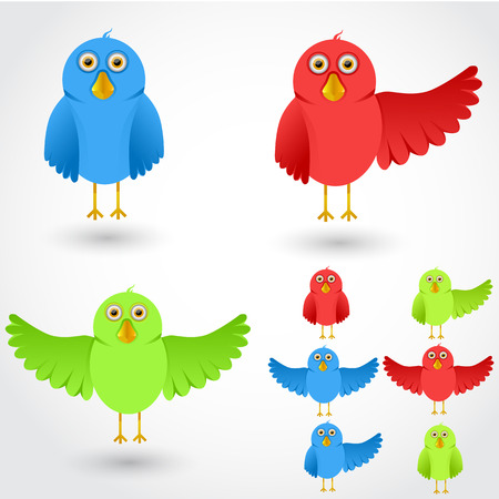 wings bird: Colorful cartoon birds on white collection. Vector illustration