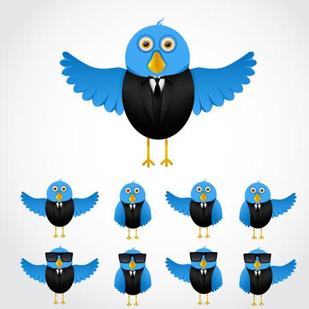 social security: Blue cartoon business bird in tuxedo collection