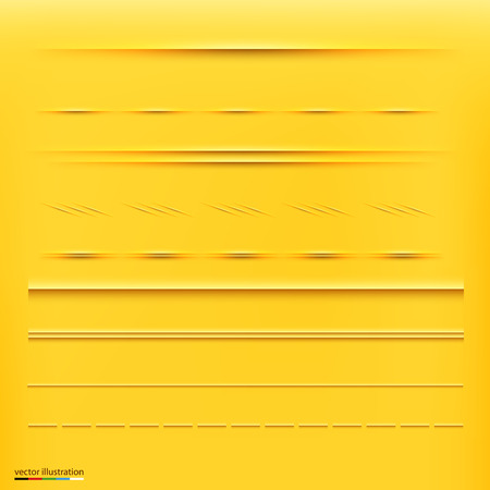 Set of dividers, isolated on yellow background. Vector Illustration Vector