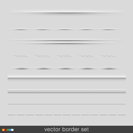 Set of dividers, isolated on grey background. Vector Illustration Vector