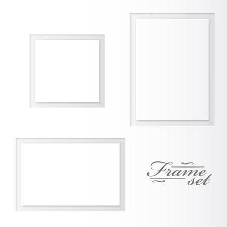 rectangle patterns: Unusual blank frames set on white background. Vector illustration