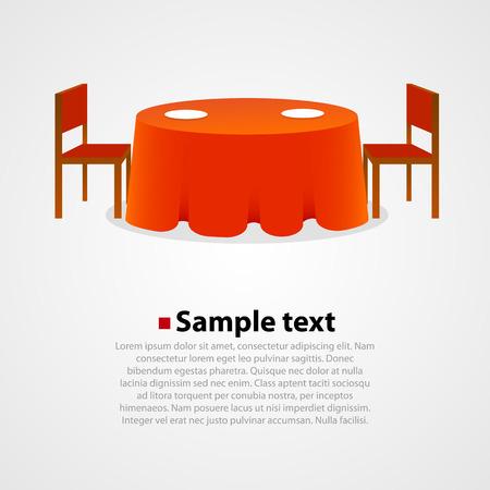식탁보와 흰색 배경에 두개의 자와 함께 라운드 테이블. 일러스트