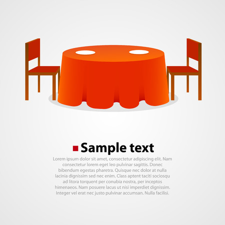 Round table with tablecloth and two Chairs on white background.