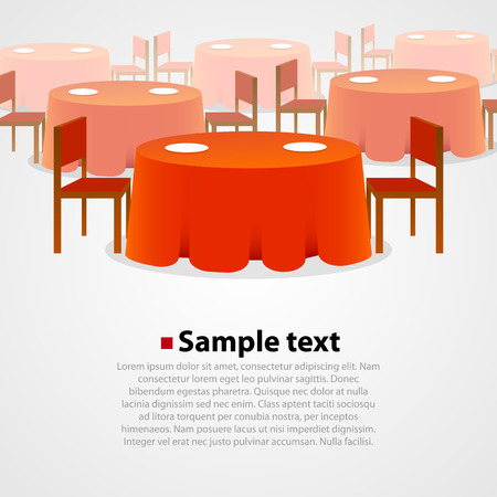 round chairs: Many round tables with tablecloth and two chairs background. Illustration