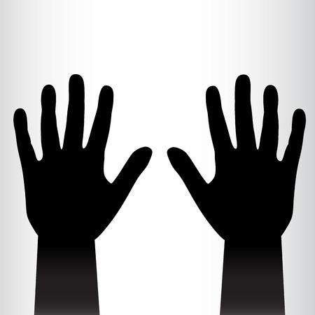 Pair of black hands background. Vector illustration Vector