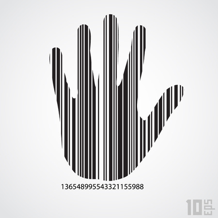 Vector barcode hand. Technology and people conception Vector