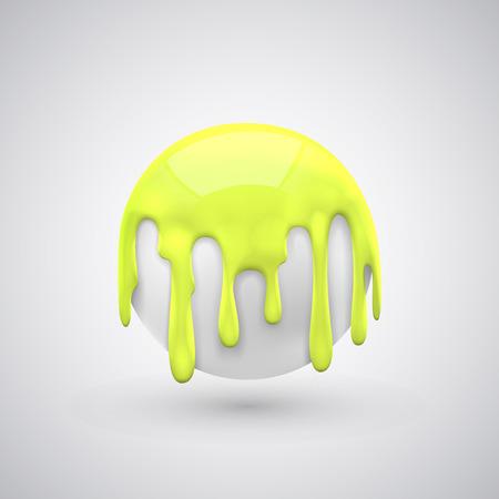 yellow  art: pelota con gotas de pintura de arte amarillo. Ilustraci�n vectorial