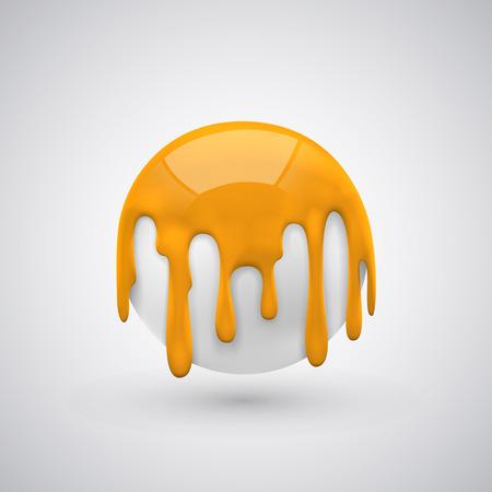 ball with paint drops orange art. Vector illustration