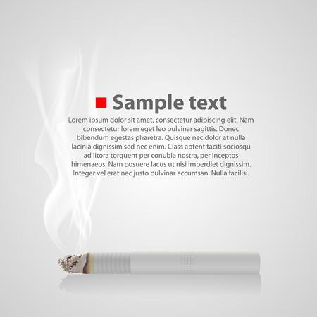 smoldering: Fumante sigaretta con un fumo. Illustrazione vettoriale