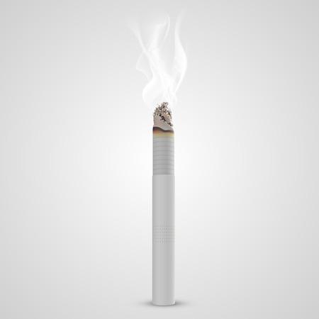 butt: Smoldering cigarette with a smoke. Vector illustration