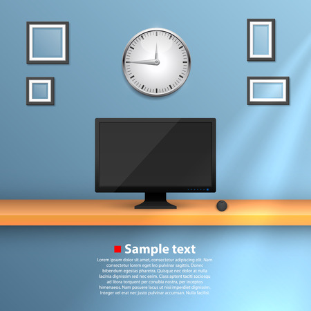 10eps: Wall with a computer. Vector illustration 10eps