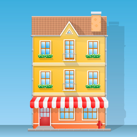 hause: House shop flat art . Vector illustration background