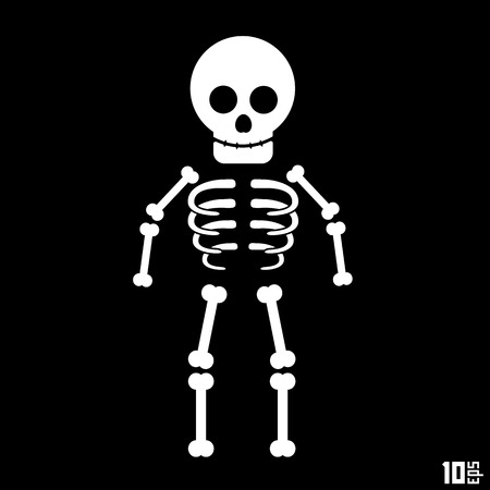 esqueleto: Esqueleto en un fondo negro. Ilustraci�n vectorial