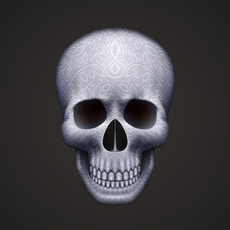 metal pattern: Human skull isolated on black with ornament. Vector illustration Illustration