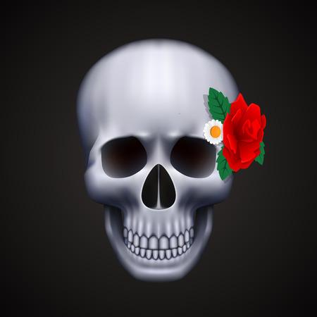 Cranio umano isolato con fiore. Illustrazione vettoriale