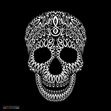 Ornamental pattern skull in tattoo style. Vector illustration