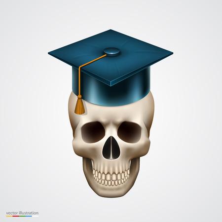 10eps: Skull with hat. Vector illustration art 10eps