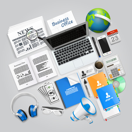 business collage: Business collage items art objects. Vector illustration Illustration