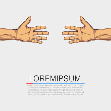 outstretched hand: Pair hands isolated on white background. Help concept. Vector illustration Illustration