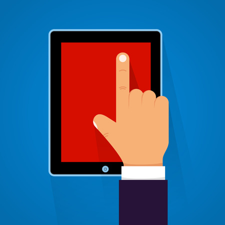 power point: Cartoon hand touching a tablet. Vector illustration