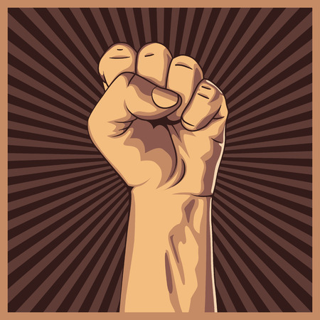 Clenched fist held high in protest background. Vector illustration.