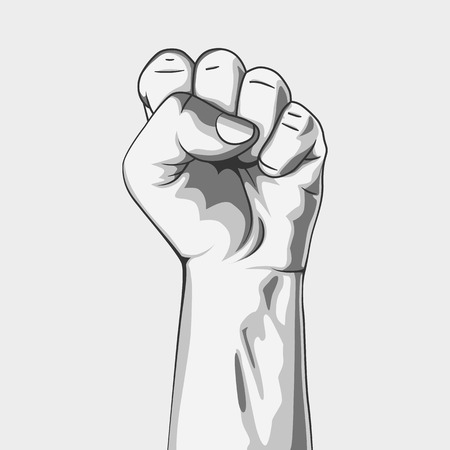 Black and white clenched fist. Vector illustration. Hand collection. Vettoriali