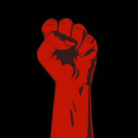 Clenched fist. Red and black. Vector illustration
