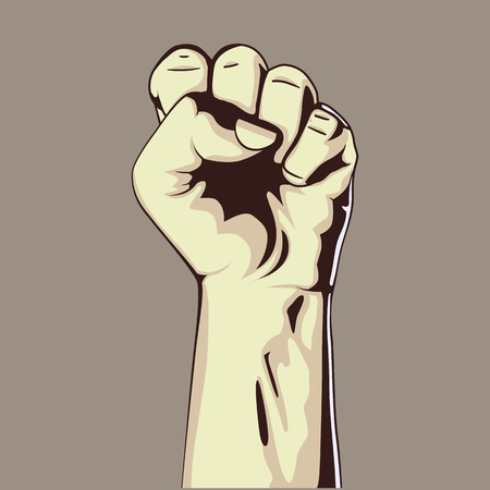hand held: Clenched fist held high in protest, vector illustration. Hand collection.