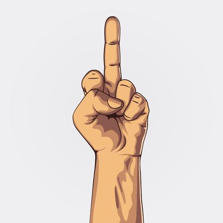 middle finger: Hand in middle finger sign. Clean vector illustration