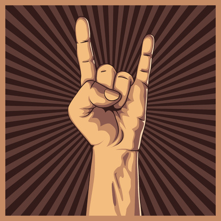 Hand in rock sign background. Vector illustration. Hand collection. Ilustração