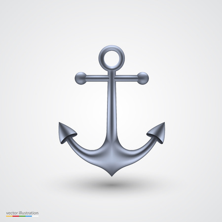 navy pier: Anchor on a white background art object. Vector illustration Illustration