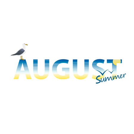 august: Banner year in August art. Vector illustrator Illustration