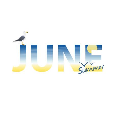 Banner year in June art. Vector illustrator