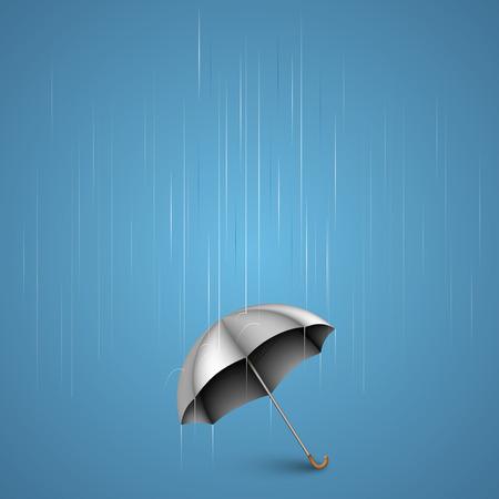 lluvia paraguas: Paraguas con arte fuertes lluvias. Ilustraci�n vectorial