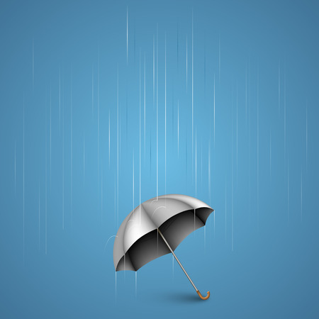weatherproof: Umbrella with heavy rain art. Vector illustration