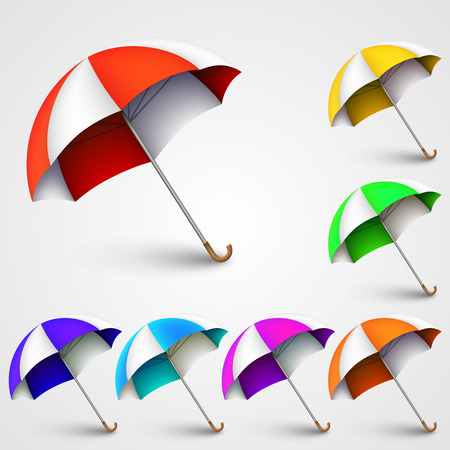 sun umbrella: Colored umbrellas art banner nature. Vector illustration Illustration