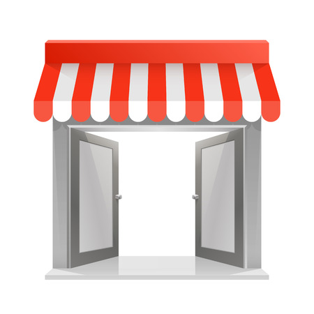 Store striped awning 3d art. Vector illustration Çizim