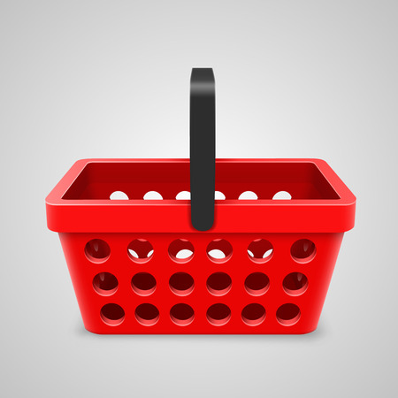 10eps: Vector red shopping bag with round holes. Vector illustration