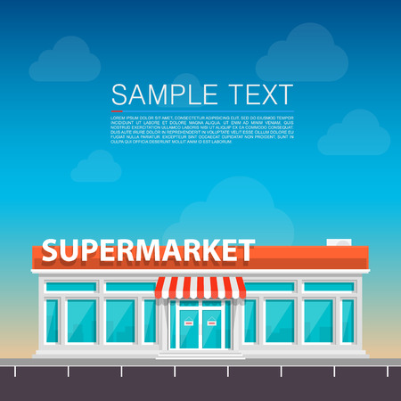 store front: Supermarket on the roadside art. Vector illustration Illustration