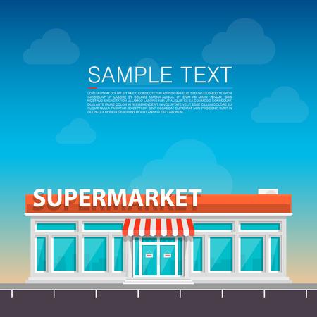 Supermarkt op de weg kunst. Vector illustratie