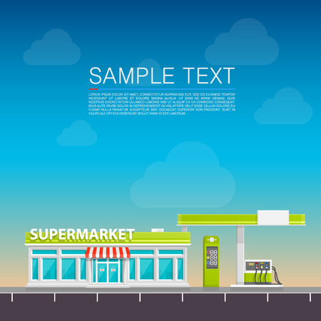 Supermarket on the roadside art. Vector illustration Illustration