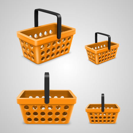 empty basket: Vector shopping bag with round holes orange. Vector illustration