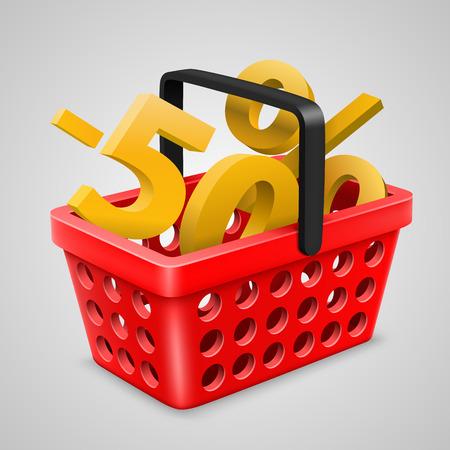 Red basket Bargain. Vector illustration art 10eps