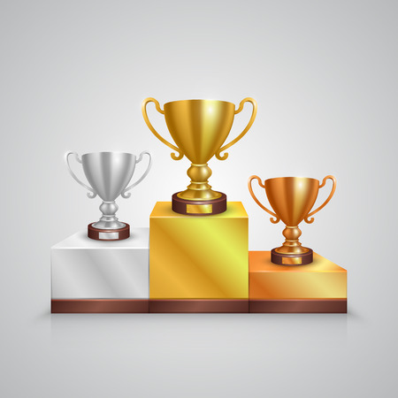 trophy winner: Cup holder on a white background. Vector illustration