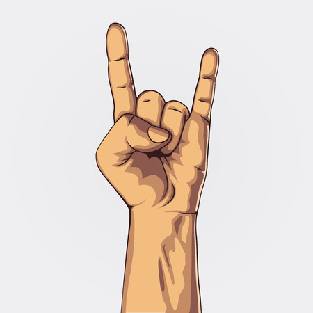 Hand in rock sign. Vintage vector illustration. Çizim