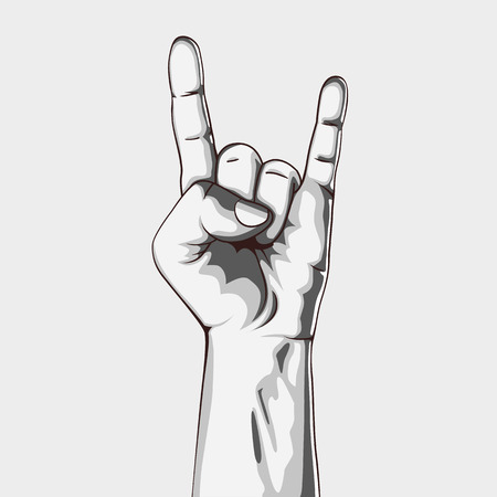 modern rock: Hand in rock sign. Vector illustration. Black and white. Hand collection.