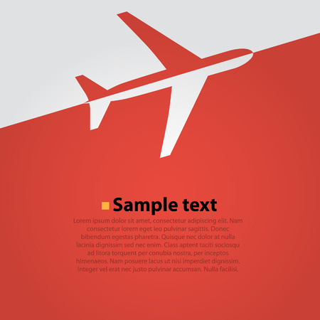 Airplane flight red background. Simple vector illustration