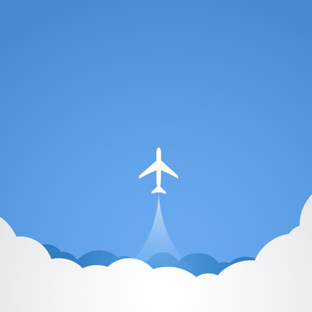 airport symbol: White silhouette of jet airplane. Vector illustration Illustration