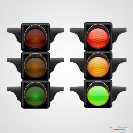 señal transito: Semáforos realistas Aislado en blanco. Ilustración del vector.
