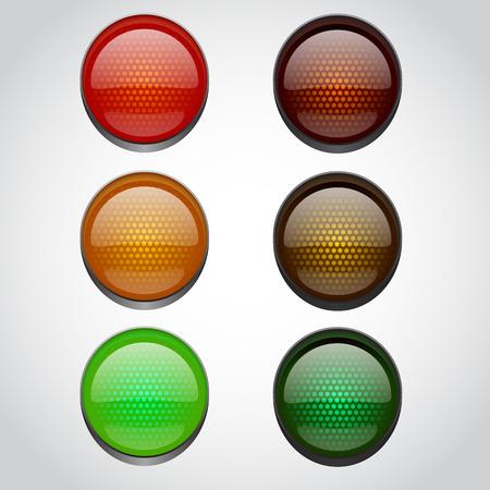 se�ales de transito: Sem�foros aislados en blanco. Ilustraci�n vectorial Vectores